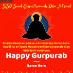 Write Name on Guru Nanak Dev Ji Birthday 550 Saal wishes Photo