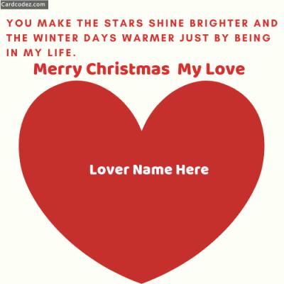 Write Name on Merry Christmas My Love Greeting Card