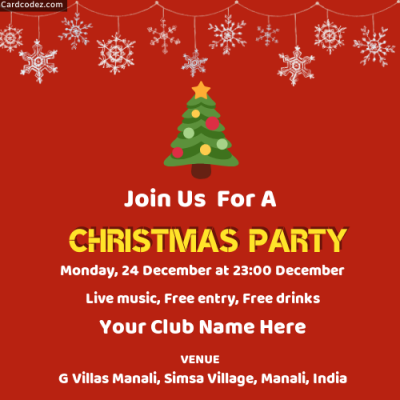 Make Free Christmas Party Invitation Card Online
