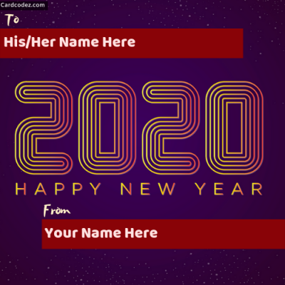 Write Name on Happy New Year 2020 Lights Greeting Card Photo With Name to from name card