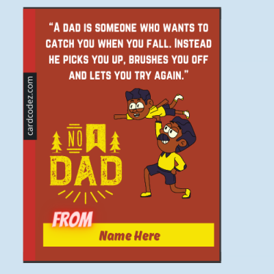 Write Name on Happy Father's Day Greeting Card from boy(son)